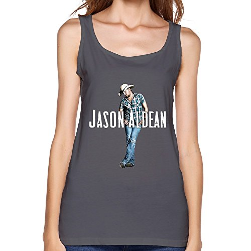 SY American Country Rock Singer Jason Aldean Cotton Tank Top Shirt For Women DeepHeather L