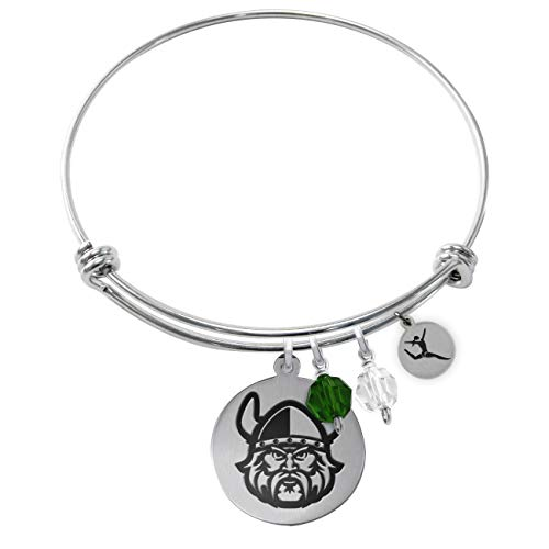 College Jewelry Cleveland State Vikings Stainless Steel Adjustable Bangle Gymnastics Bracelet with Crystal Accents