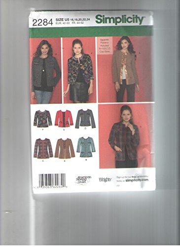 Simplicity 2284 Sewing Pattern for Misses 16-24 Jackets for A-b-c-or D Cup Sizes, Princess Seamed Jackets in 2-lengths with Pocket or Flaps or Bound or Band Trim or 3/4 or -