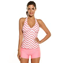 Ekouaer Women Halter Padded Striped Tankini Solid Boyshort Set Swimsuit Swimwear