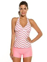Ekouaer Women Halter Padded Striped Tankini Solid Boyshort Set Swimsuit Swimwear
