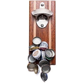 Bruntmor, CAPMAGS Strong Magnetic w/ Zinc Alloy Beer Opener & Magnetic Cap Catcher - Merbau Wood