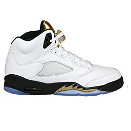 Nike Air Jordan 5 Retro BG LTD Olympic Gold Coin 2016 Basketball Sneaker, Color:white, EU Shoe Size:EUR 36.5