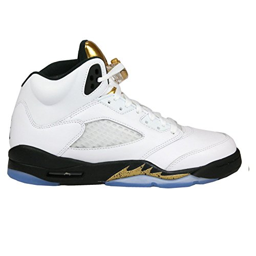 Nike Jordan Retro 5'' Metallic Gold White/Black-Metallic Coin (Big Kid) (US 4.5y) by NIKE