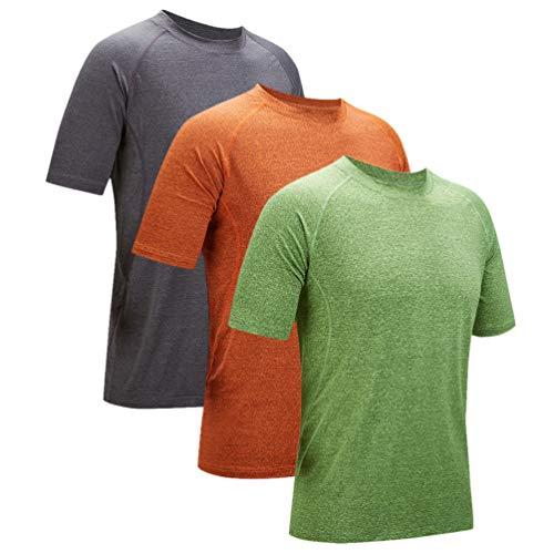 ZITY T Shirts for Men Quick Dry Short Sleeves Tee 1245(Dark Grey, Green, Orange) X-Large ()