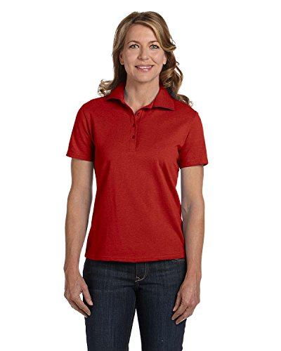 Hanes Stedman Ladies' 7 oz. Cotton Pique Polo>XL DEEP RED 035