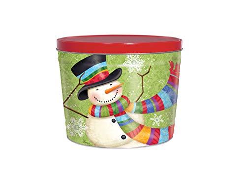 C.R. Frank Popcorn - Gourmet Popcorn Tin, 2 Gallon, Snowman (3 Way Butter, Cheese, and Caramel)