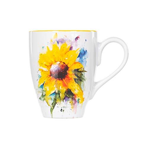 DEMDACO Sunflower Watercolor Yellow On White 12 Ounce Glossy Stoneware Mug With Handle ()