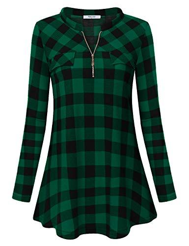 (Diphi LiLi Womens Casual Long Sleeve Tartan Blouse Zip up Plaid Tunic Shirt (Green and Black, Small))