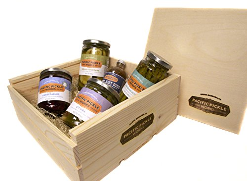 Pickle Gift Set in Branded Wood Crate (5-pack) - variety of pickled veggies and Bloody Mary Elixir