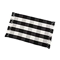 """Buffalo Check Rug Washable Checkered Cotton Mat Woven Black and White Plaid Striped Area Rug Tassel for Exterior Outdoor Kitchen Living Room Bathroom Decor,23.6""""x35.4"""""""