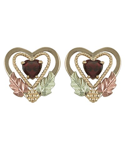 Garnet Open-Cut Heart Earrings, 10k Yellow Gold, 12k Rose and Green Gold Black Hills Gold Motif by Black Hills Gold Jewelry