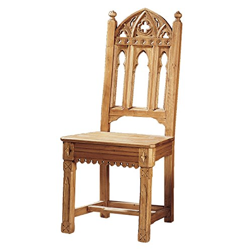 Design Toscano Sudbury Hand-Carved Solid Pine Gothic Side Chair - Set of Two