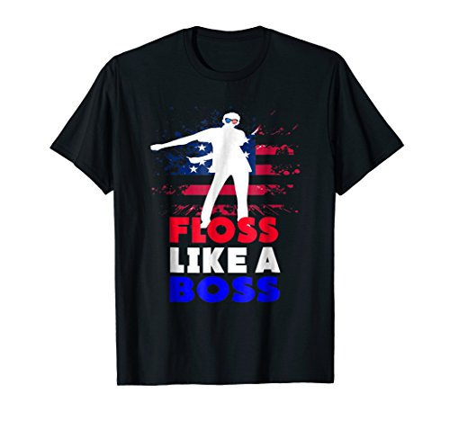 (Floss Like a Boss Shirt, 4th of July Red White And Blue Tee)