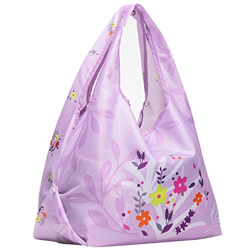 Blueberry Pet 2019 New Wildflower Print Lightweight Eco-Friendly Reusable Shopping Bag, Lavender, Washable, Pet Parent Must-Have Durable Foldable Grocery Tote Bag and Carryall