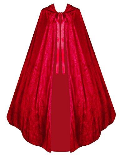 Cykxtees for Men Victorian Vagabond Gothic Medieval Steampunk Velvet Cape Cloak Crimson Red -
