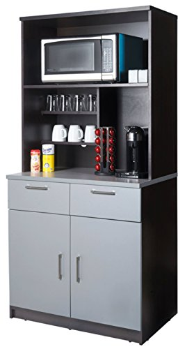 Coffee Kitchen Lunch Break Room Cabinets Model 4231 BREAKTIME 2 piece group Color Espresso/Silver Metalic - Factory Assembled (NOT RTA) Furniture Items ONLY. by Breaktime (Image #2)