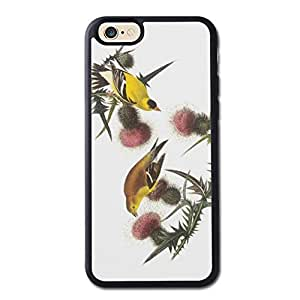 American Goldfinch By Audubon Generic High Quality Snap On Soft TPU Cellphone Case Back Skin Cover Protector For iPhone 6 4.7inch Black