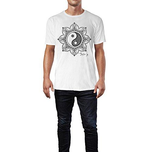 SINUS ART ® Henna Yin und Yang Mandala Herren T-Shirts in Weiss Fun Shirt mit tollen Aufdruck