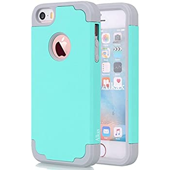 iPhone SE Case , iPhone 5S Case , iPhone 5 Case ,Alkax Dual Layer Armor Heavy Duty Rugged Slim Fit Shockproof Protection Series Protective Cover Bumper for Apple iPhone SE +1 Stylus Pen (Teal/grey)