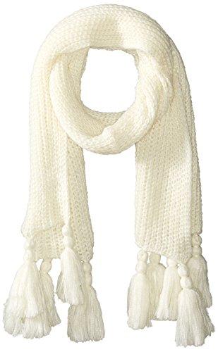 Jessica Simpson Scarf - Jessica Simpson Women's Solid Knit Scarf W/Tassle Fringe, cream, One Size