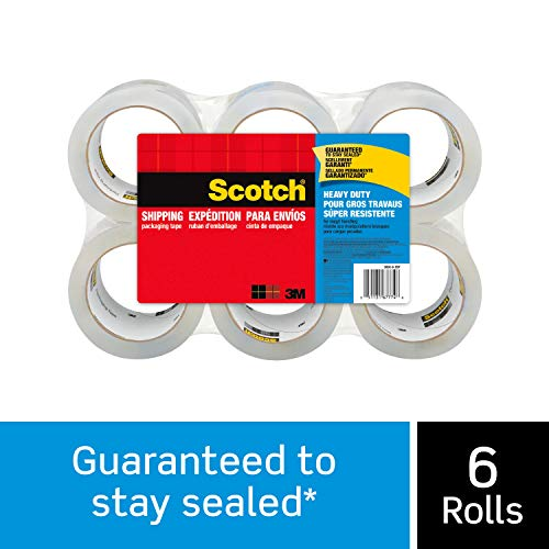 "Scotch Heavy Duty Shipping Packaging Tape, 6 Rolls, 1.88"" x 54.6 Yards, 3"" Core, Clear, Great for Packing, Shipping & Moving (3850-6)"