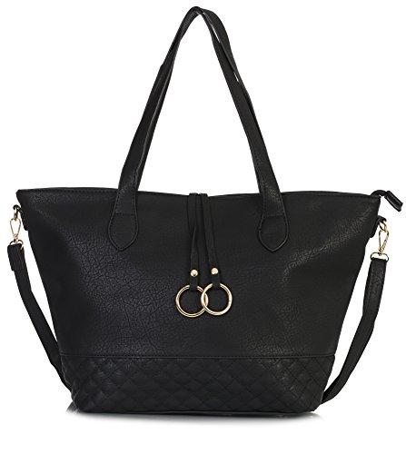 Size Large Black Shopper Handle Design Handbag Top Vegan Shop Shoulder Tote Bag Big Womens 5 Leather WwAg7Pqqf