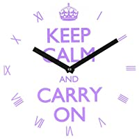 Refelx Non-Ticking Silent Acrylic Wall Clock, Large, Keep Calm and Carry on Roman Numerals, Purple