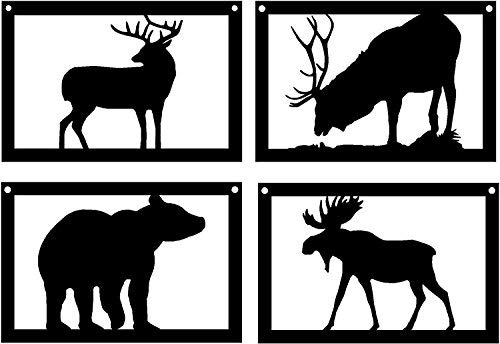 The Metal Peddler Set of 4 Wildlife Art -Deer Elk Bear and Moose - 9