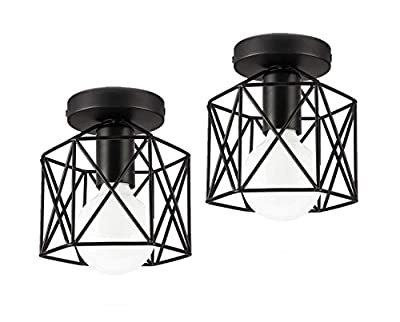 Industrial Ceiling Light, Licperron Edison Hanging Caged Pendant Light Fixture, pack of 2