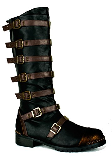 Strapped Steampunk Bronze Military Combat Halloween Costume Mens Boots (Steampunk Costume Spirit Halloween)