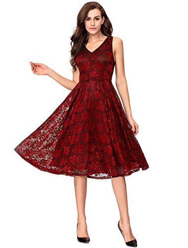 Noctflos Elegant Lace V Neck Fit & Flare Midi Cocktail Party Dress for Women Wedding Guest Burgundy