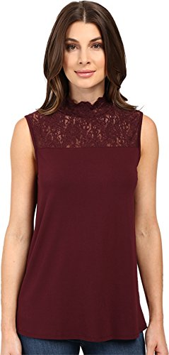 Vince Camuto Women's Sleeveless Top with Lace Mock Neck and Yoke Raisin Shirt