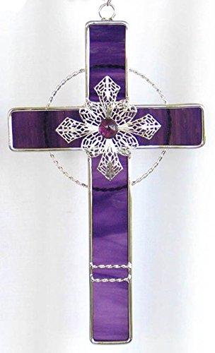 Stained Glass Cross Suncatcher - Stained Glass Filigree Cross - GRAPE/PURPLE