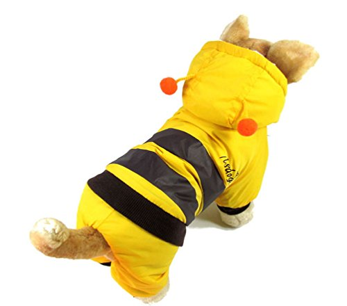 SMALLLEE_LUCKY_STORE XY000132-L Small Dog Bee Hoodie Costume Coat Outfit, Yellow, Large