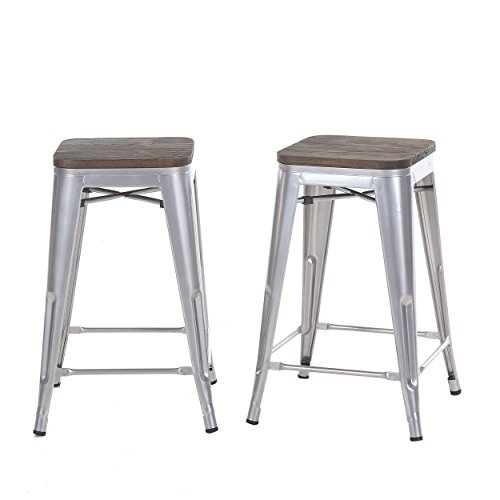 Buschman Set of 2 Gray Wooden Seat 24 Inch Counter Height Metal Bar Stools, Indoor/Outdoor, (Stool Bistro Bar Set)