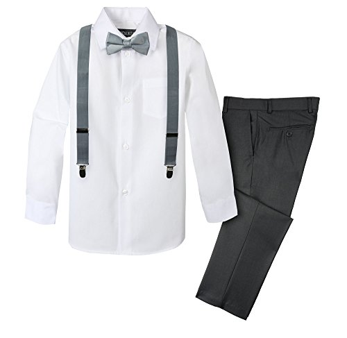 Spring Notion Boys' 4-Piece Suspender Outfit 05 Charcoal/Medium Grey ()