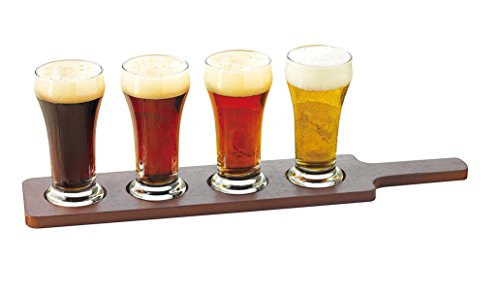 Libbey Craft Brews Beer Flight 6-Ounce Clear Pilsner Glass Set, 5-Piece (Beer Tasting Flight Set)