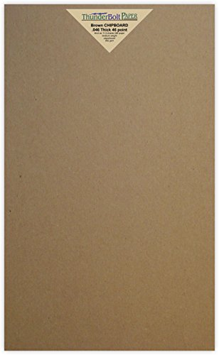 150 Sheets Chipboard 46pt (point) 8.5'' X 14'' (8.5X14 Inches) Legal|Menu Size .046 Caliper Thick Cardboard Craft|Packaging Brown Kraft Paper Board by ThunderBolt Paper
