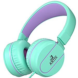 ARTIX Foldable On-Ear Adjustable Tangle-Free Wired Headphones, Compact Stereo Earphones with in-line Microphone and Controls for Children &Teen Head Phones for Sport, Travel, School – Turquoise