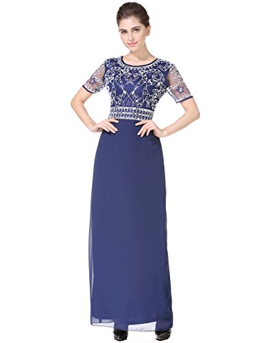 MANER Women Chiffon Beaded Embroidered Sequin Long Gowns Prom Evening Bridesmaid Dress(XL,Blue)