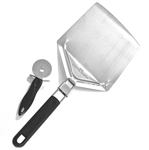 Pizza Peel with Folding Handle for Easy Storage, For Baking Homemade Pizza, Bread, Pies - Use on Outdoor Pizza Ovens, Grills and BBQ - with Pizza Cutter Wheel Tool, Stainless Steel, Dishwasher Safe