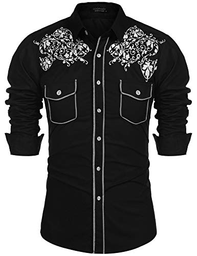 COOFANDY Men's Embroidered Western Shirts Cowboy Long Sleeve Button Down Dress Shirt