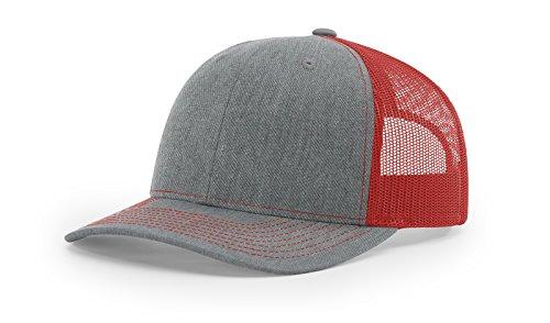 Richardson 112 Heather Grey/Red Mesh Back Trucker Cap Snapback ()