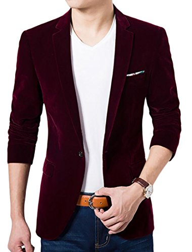 XTX Men's Fashion Solid Color Velvet Peaked Lapel Suit Blazer Jackets Wine Red US M (Jacket Velvet Casual Mans)