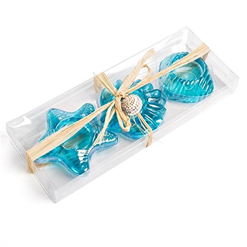 Sea Glass Starfish and Seashell Tea Light Candle Holder Set of 3 (Aqua)