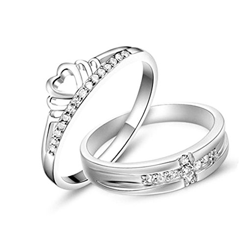 Crown Adjustable Ring (Tidoo Jewelry S925 Sterling Silver Adjustable Couples Rings Crown & Cross Design Mens Womens Wedding Bands)