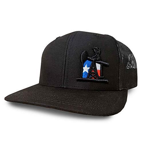 best service 7543a 5b4e4 Oil Field Hats Black Black Texas Flag PJ Cowboy Adjustable Snapback Hat