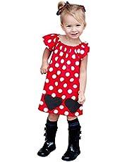 ZHMEI Vestidos niña | Vestido Infantil con Estampado de Lunares de Dibujos Animados para bebés y niños pequeños 12 Meses - 12 años