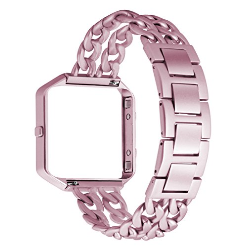 Fitbit Blaze Watch Band Agoigo Frame Housing Chain Bands Stainless Steel Metal Adjustable Replacement Wristband for Fitbit Blaze Smart Fitness Watch, - Frame Determine Size